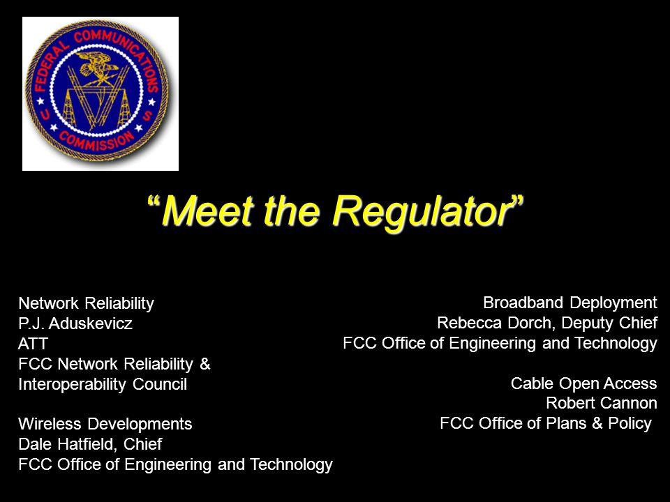Meet the Regulator Network Reliability P.J.