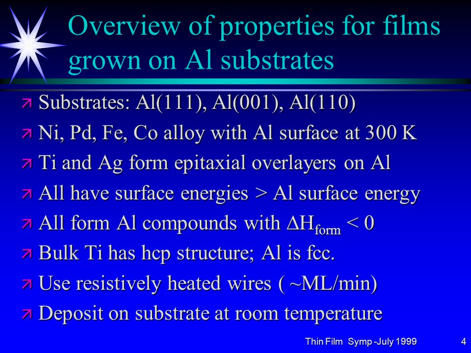 Thin Film Symp -July 199915 Ti on Al(110): HEIS Al surface peak vs Ti coverage ä Shadowing of Al atoms by Ti same as for Al(001) ä Critical thickness at ~5 ML ä Simulation (  ) for flat Ti layer in FCC Al sites ä Film relaxes for coverage > 5 ML