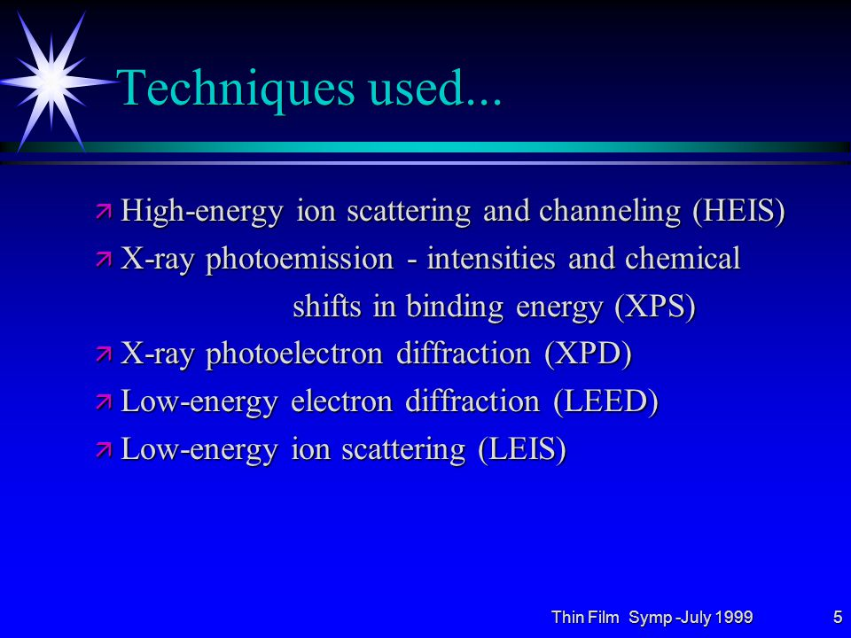 Thin Film Symp -July 199926 Conclusions: ä Ti films on Al(110) and Al(001) grow with an epitaxial fcc structure up to 5 ML and then relax to a new structure, probably hcp.