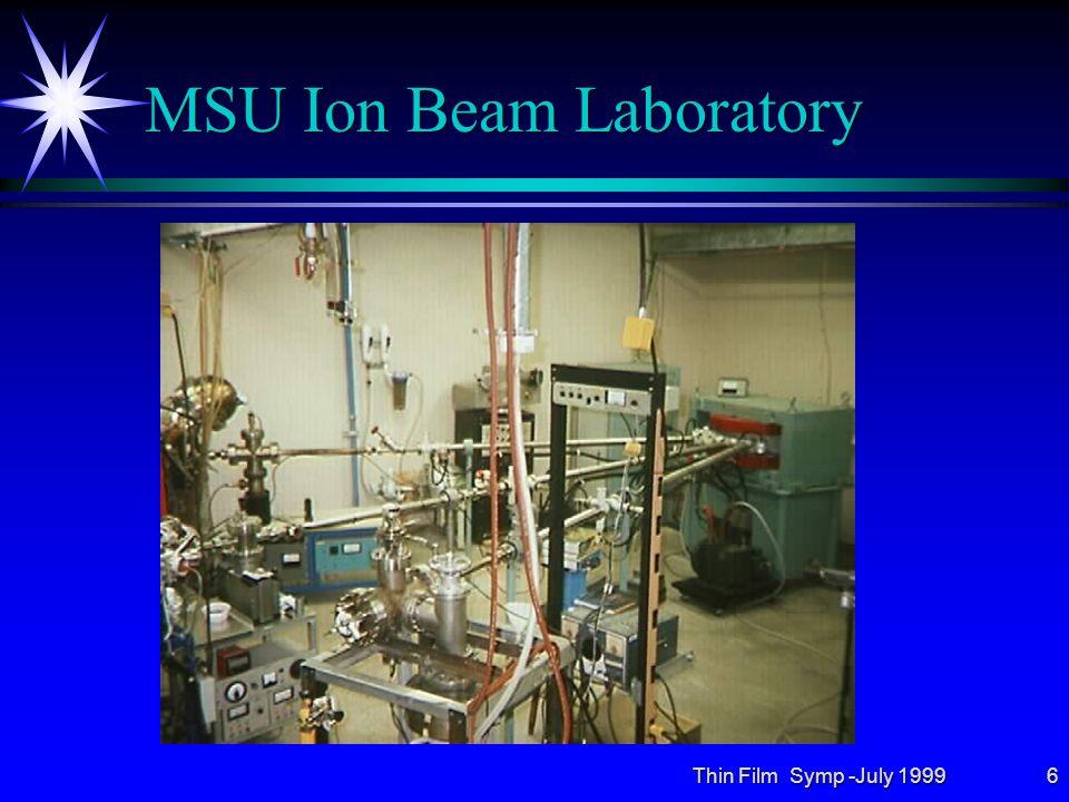 Thin Film Symp -July 19996 MSU Ion Beam Laboratory