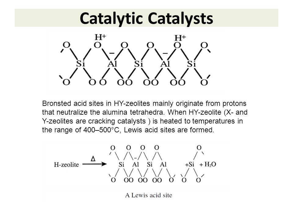 Catalytic Catalysts Bronsted acid sites in HY-zeolites mainly originate from protons that neutralize the alumina tetrahedra. When HY-zeolite (X- and Y
