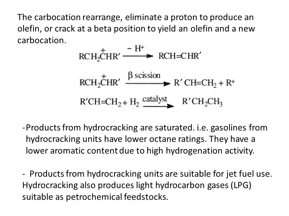 The carbocation rearrange, eliminate a proton to produce an olefin, or crack at a beta position to yield an olefin and a new carbocation. -Products fr
