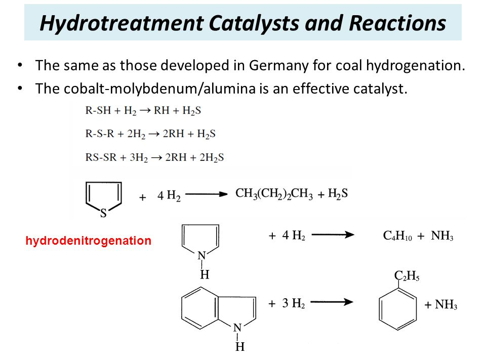 Hydrotreatment Catalysts and Reactions The same as those developed in Germany for coal hydrogenation. The cobalt-molybdenum/alumina is an effective ca
