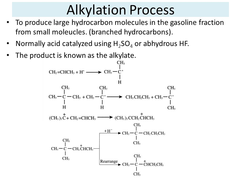 Alkylation Process To produce large hydrocarbon molecules in the gasoline fraction from small moleucles. (branched hydrocarbons). Normally acid cataly