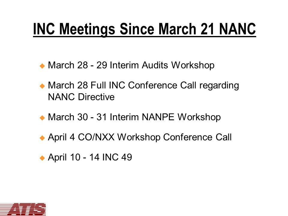 INC Meetings Since March 21 NANC u March 28 - 29 Interim Audits Workshop u March 28 Full INC Conference Call regarding NANC Directive u March 30 - 31