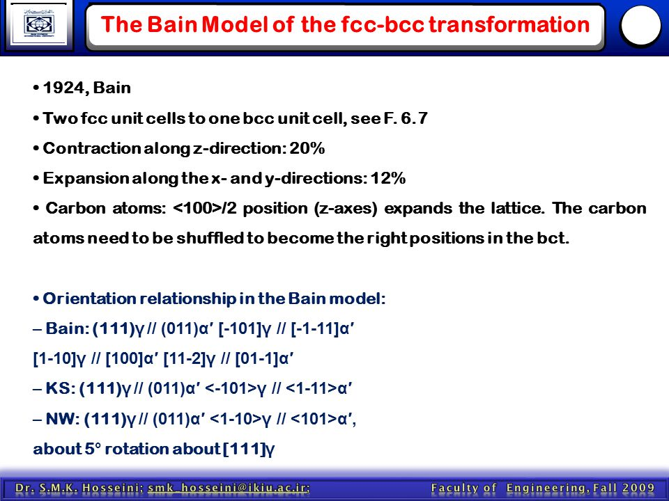 The Bain Model of the fcc-bcc transformation 1924, Bain Two fcc unit cells to one bcc unit cell, see F. 6.7 Contraction along z-direction: 20% Expansi