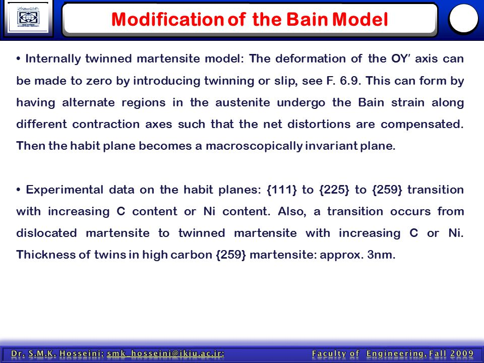 Modification of the Bain Model Internally twinned martensite model: The deformation of the OY ′ axis can be made to zero by introducing twinning or sl