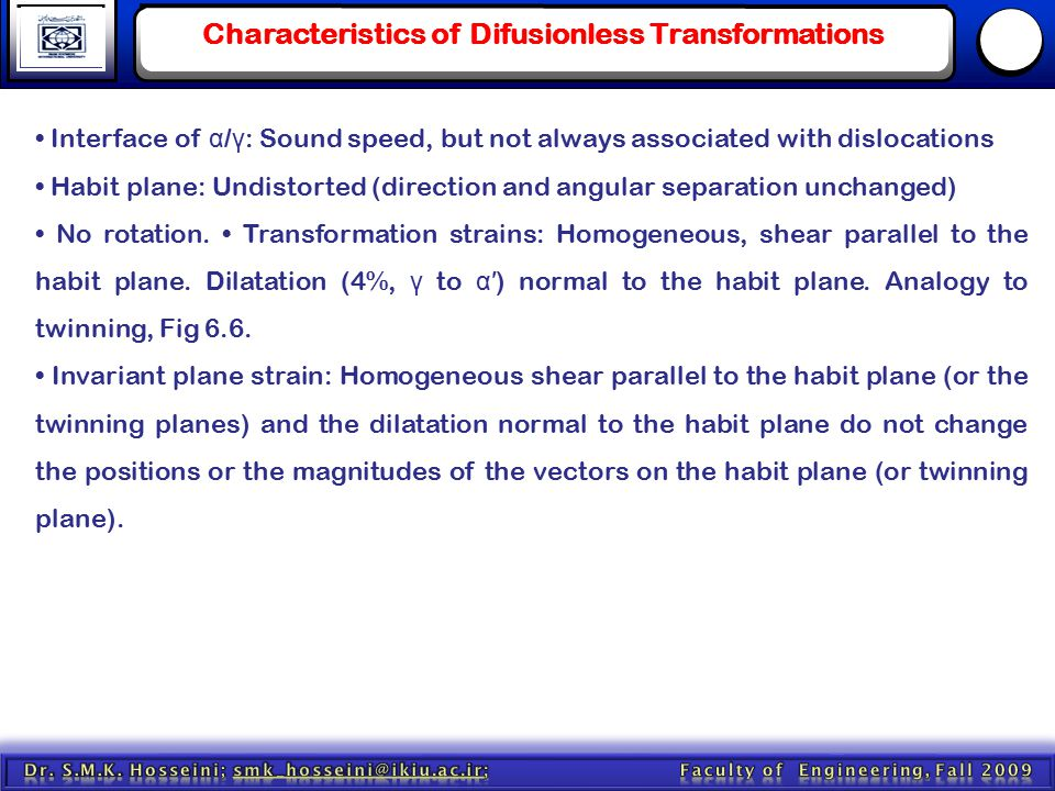 Characteristics of Difusionless Transformations Interface of α / γ : Sound speed, but not always associated with dislocations Habit plane: Undistorted