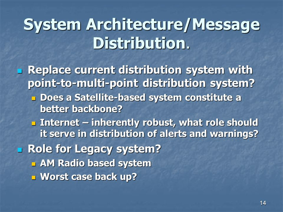 14 System Architecture/Message Distribution.