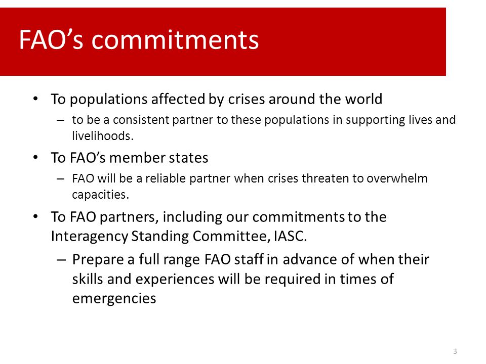 To populations affected by crises around the world – to be a consistent partner to these populations in supporting lives and livelihoods. To FAO's mem
