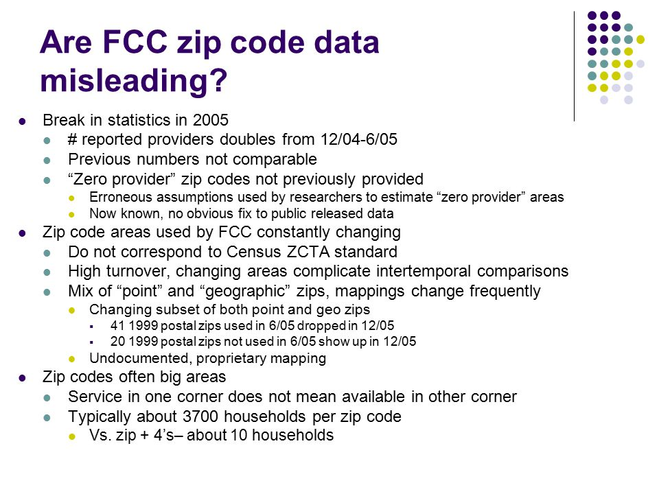 """Are FCC zip code data misleading? Break in statistics in 2005 # reported providers doubles from 12/04-6/05 Previous numbers not comparable """"Zero provi"""