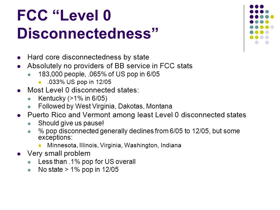 """FCC """"Level 0 Disconnectedness"""" Hard core disconnectedness by state Absolutely no providers of BB service in FCC stats 183,000 people,.065% of US pop i"""
