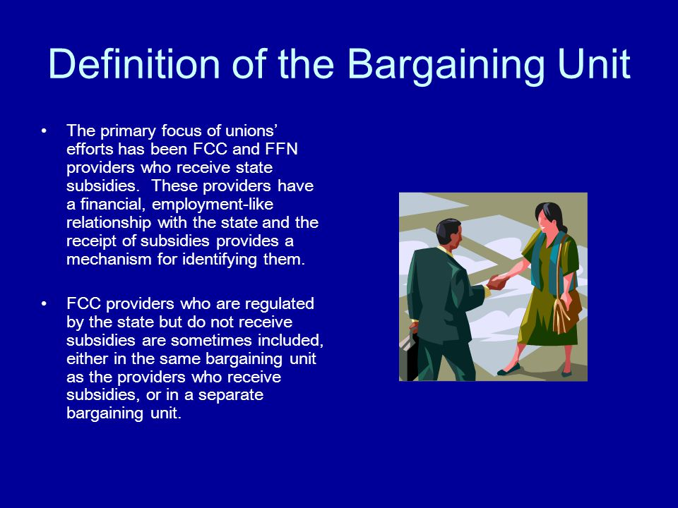 Definition of the Bargaining Unit Executive orders and legislation permitting home-based providers to organize specify which providers may be grouped together for representation and bargaining purposes.
