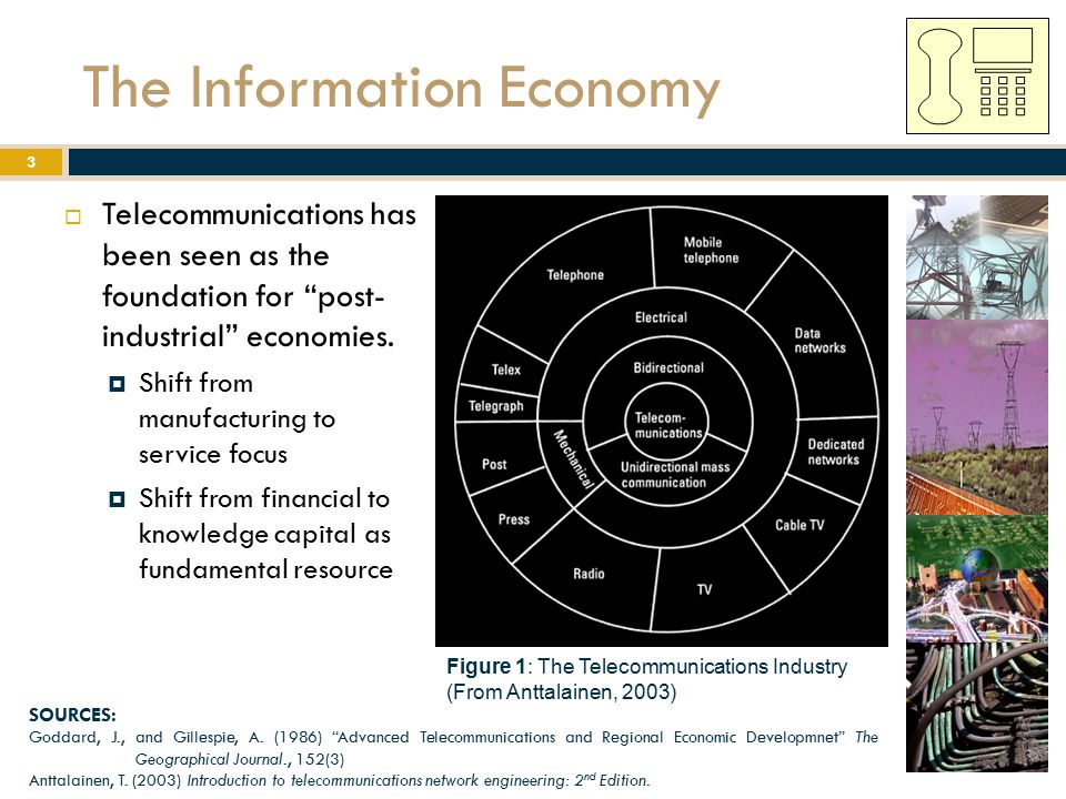 "The Information Economy  Telecommunications has been seen as the foundation for ""post- industrial"" economies.  Shift from manufacturing to service f"