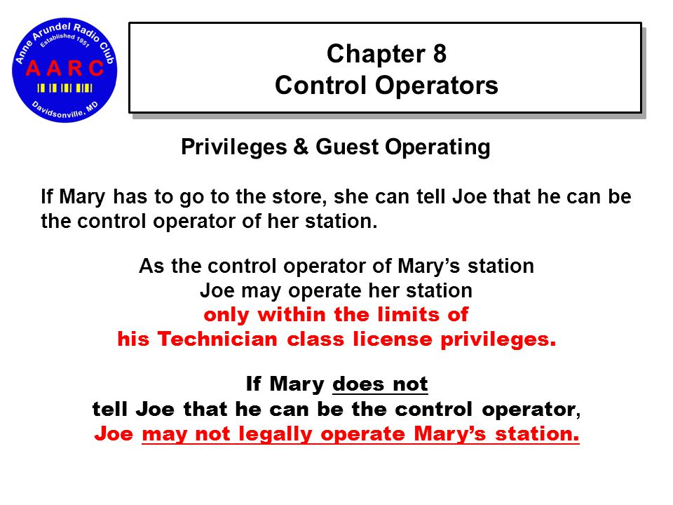 Chapter 8 Control Operators Privileges & Guest Operating If Mary has to go to the store, she can tell Joe that he can be the control operator of her station.