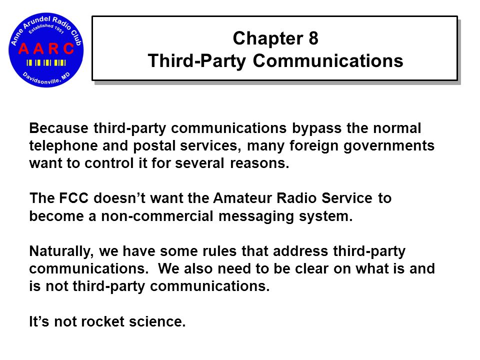 Chapter 8 Third-Party Communications Because third-party communications bypass the normal telephone and postal services, many foreign governments want to control it for several reasons.