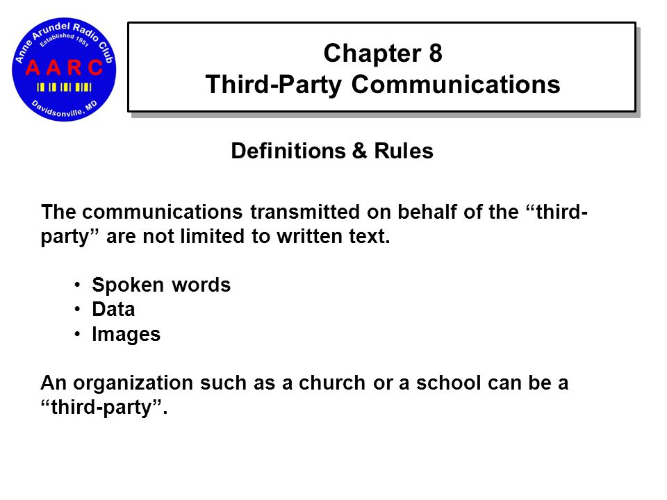 Chapter 8 Third-Party Communications Definitions & Rules The communications transmitted on behalf of the third- party are not limited to written text.