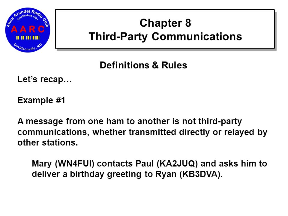 Chapter 8 Third-Party Communications Definitions & Rules Let's recap… Example #1 A message from one ham to another is not third-party communications, whether transmitted directly or relayed by other stations.