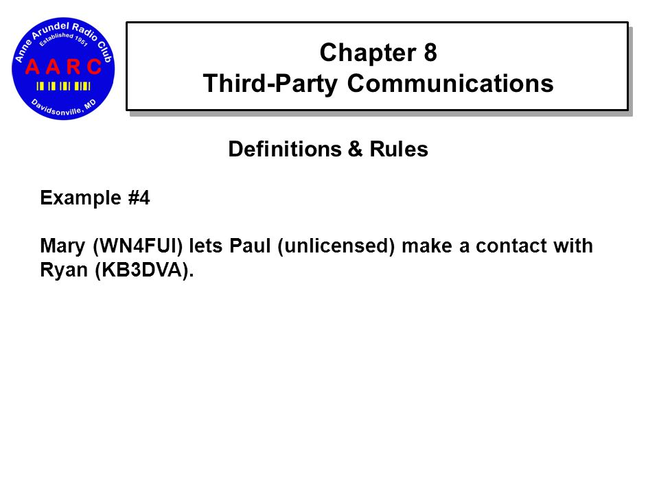 Chapter 8 Third-Party Communications Definitions & Rules Example #4 Mary (WN4FUI) lets Paul (unlicensed) make a contact with Ryan (KB3DVA).