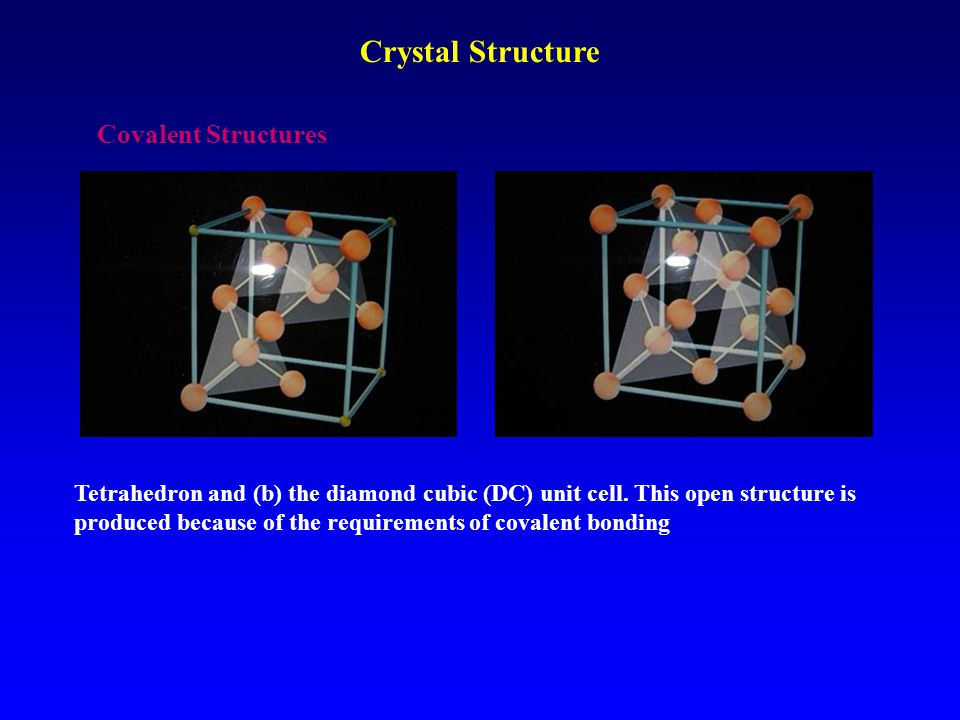 Covalent Structures Tetrahedron and (b) the diamond cubic (DC) unit cell. This open structure is produced because of the requirements of covalent bond