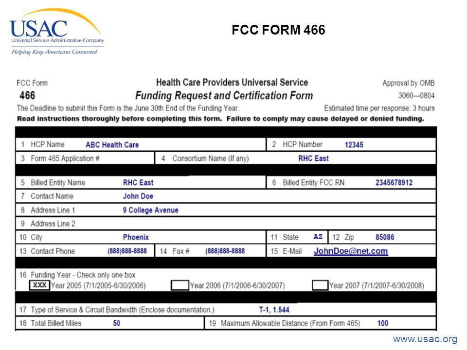 www.usac.org 24 FCC FORM 466
