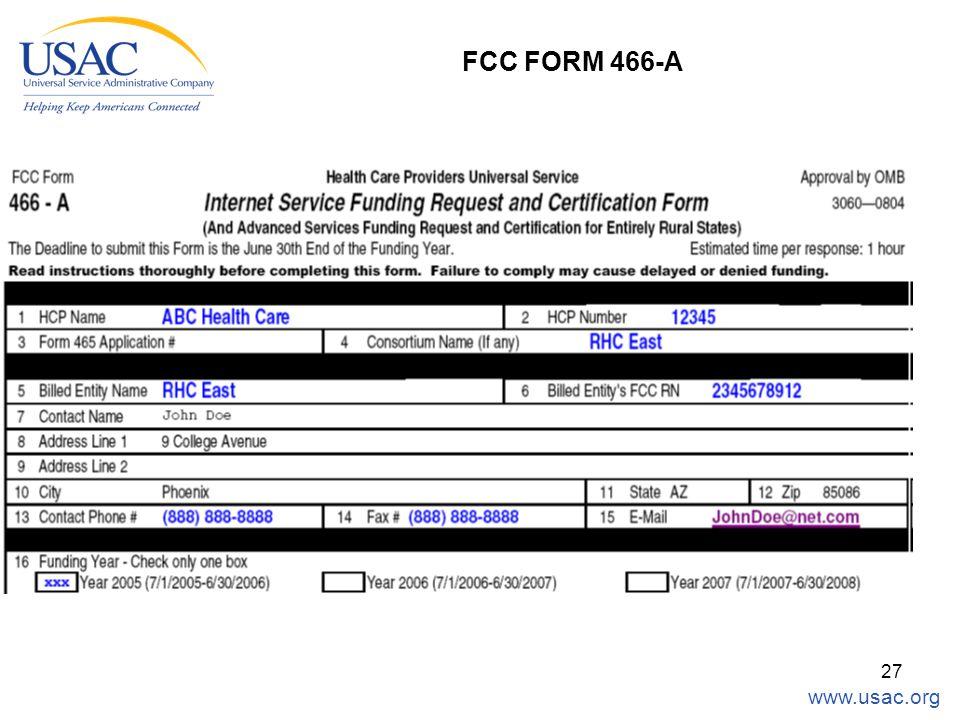 www.usac.org 27 FCC FORM 466-A