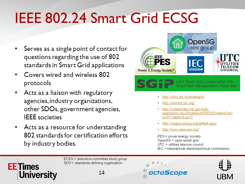 IEEE 802.24 Smart Grid ECSG ECSG = executive committee study group SDO = standards defining organization Serves as a single point of contact for questions regarding the use of 802 standards in Smart Grid applications Covers wired and wireless 802 protocols Acts as a liaison with regulatory agencies, industry organizations, other SDOs, government agencies, IEEE societies Acts as a resource for understanding 802 standards for certification efforts by industry bodies.