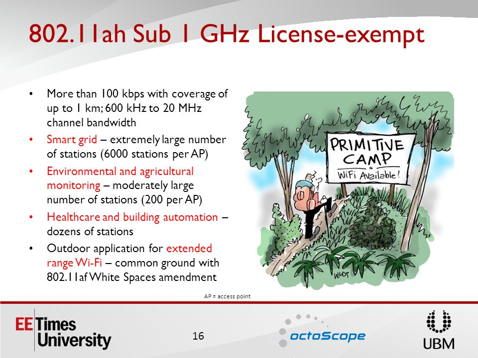 802.11ah Sub 1 GHz License-exempt More than 100 kbps with coverage of up to 1 km; 600 kHz to 20 MHz channel bandwidth Smart grid – extremely large number of stations (6000 stations per AP) Environmental and agricultural monitoring – moderately large number of stations (200 per AP) Healthcare and building automation – dozens of stations Outdoor application for extended range Wi-Fi – common ground with 802.11af White Spaces amendment 16 AP = access point
