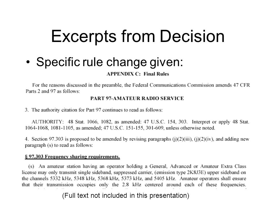 Excerpts from Decision Specific rule change given: (Full text not included in this presentation)