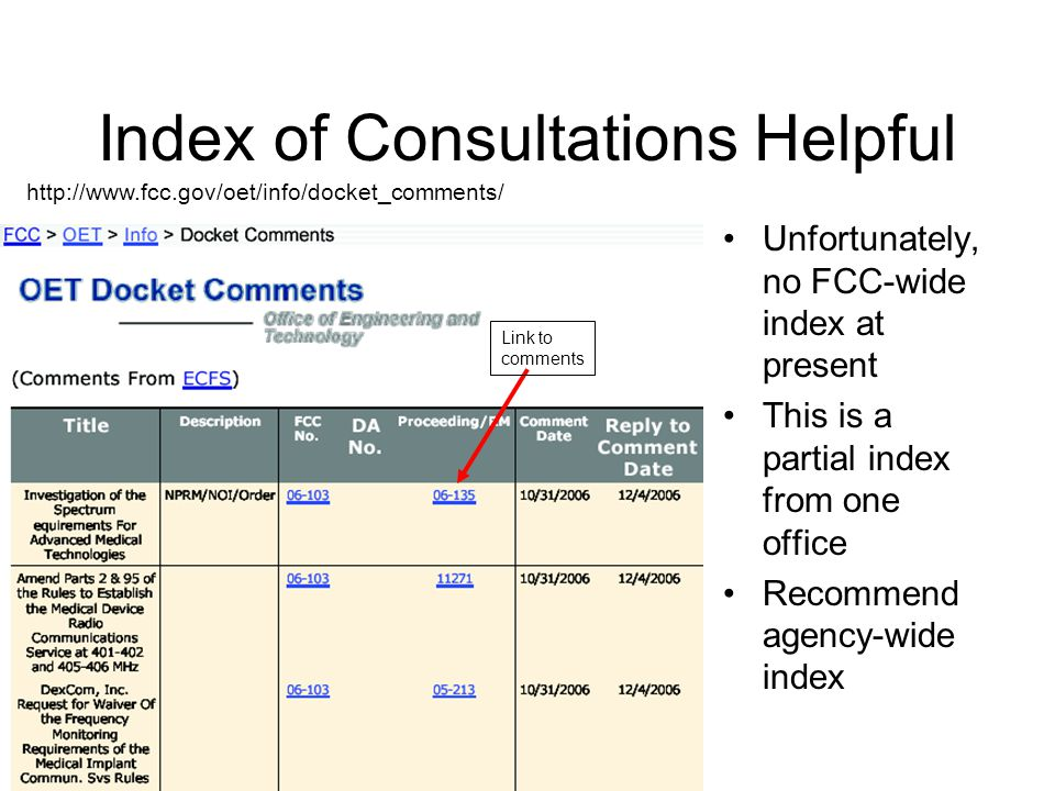 ECFS - Electronic Comment Filing System Contains Petitions, proposed rules, comments, & decisions Many types of searches are possible Heart of rulemaking & consultations at FCC http://gullfoss2.fcc.gov/prod/ecfs/comsrch_v2.cgi