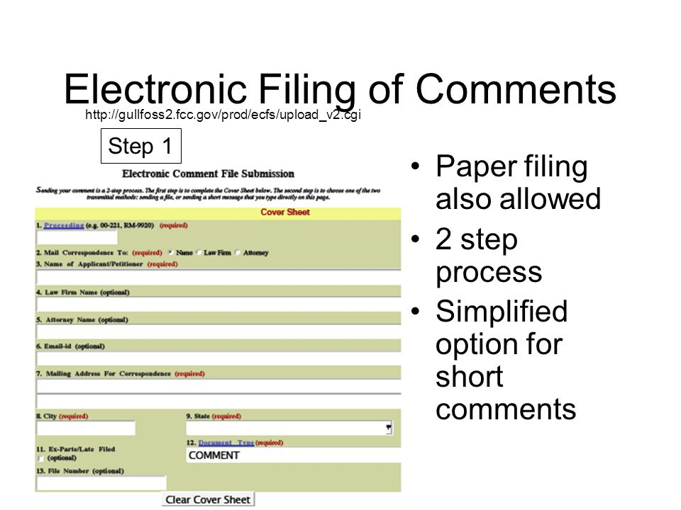 Electronic Filing of Comments Option for files with long comments Option for direct entry of short comments Step 2 or