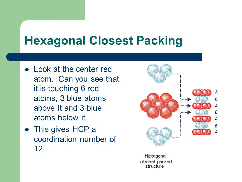 Hexagonal Closest Packing Look at the center red atom. Can you see that it is touching 6 red atoms, 3 blue atoms above it and 3 blue atoms below it. T