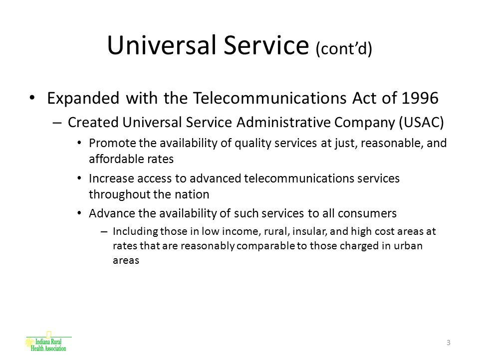 4 USAC Key Milestones February 8, 1996 – Telecommunications Act of 1996 signed into law Summer 1997 – – Universal Service Administrative Company (USAC) created by the National Exchange Carrier Association, Inc.