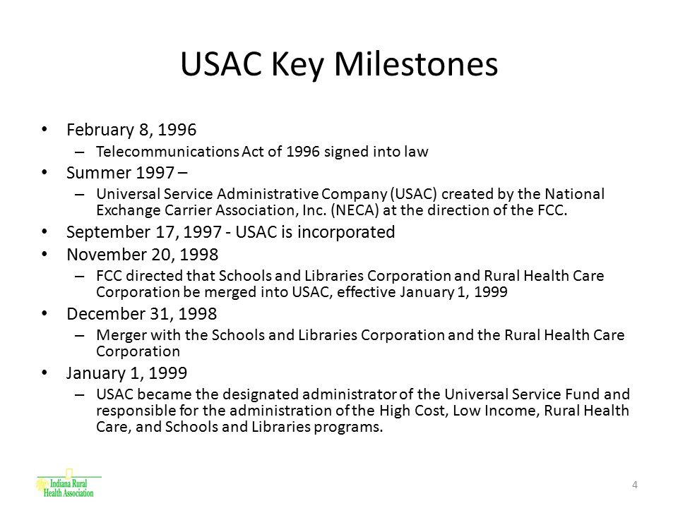 5 Universal Service Fund (USF) Created by the FCC in 1997 to meet goals of Universal Service All telecommunications providers contribute based on interstate and international end user revenues Percentage can change quarterly – 3 rd Quarter 2008 11.4% – Specific Funds Created High Cost Low Income – Lifeline & Link-Up Rural Health Care Schools and Libraries