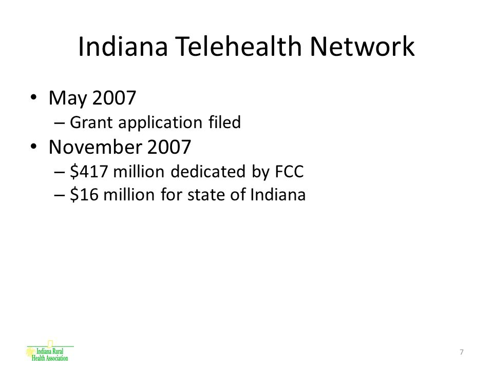 8 Indiana Telehealth Network (cont'd) IRHA is lead entity – Connect 35 Critical Access Hospitals (CAHs) throughout Indiana 100 megabit fiber connection* – FCC Dollars = 85% Support from OCRA – State/Local Dollars = 15% FCC Pilot Program Funds cover construction costs – CAHs will be anchor tenants in their communities – Telecommunications providers will be tasked with continued residential and business build out * Note: A T1=1.5 megabits, a T3=45 megabits