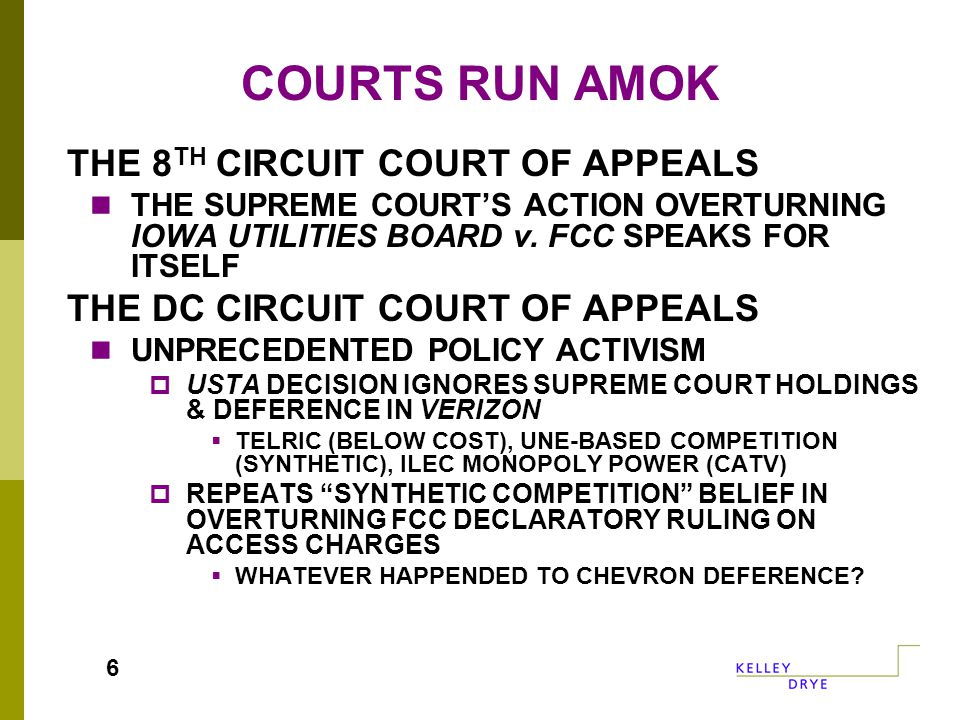 COURTS RUN AMOK THE 8 TH CIRCUIT COURT OF APPEALS THE SUPREME COURT'S ACTION OVERTURNING IOWA UTILITIES BOARD v.