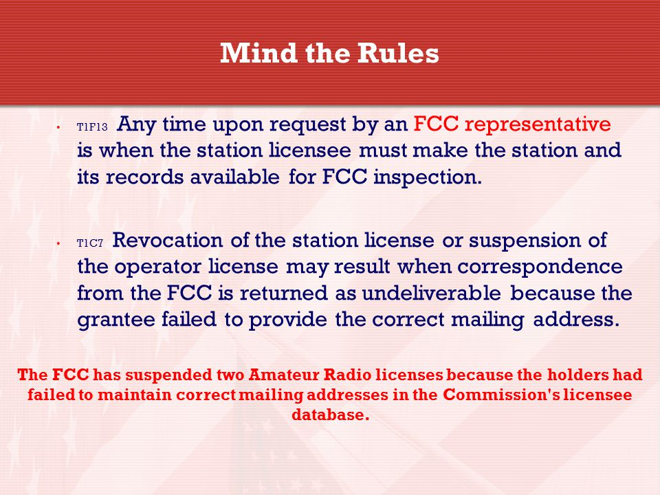 Mind the Rules T1F13 Any time upon request by an FCC representative is when the station licensee must make the station and its records available for FCC inspection.