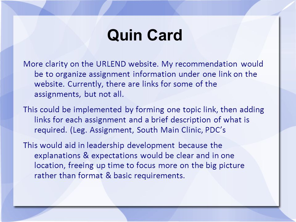 Quin Card More clarity on the URLEND website.
