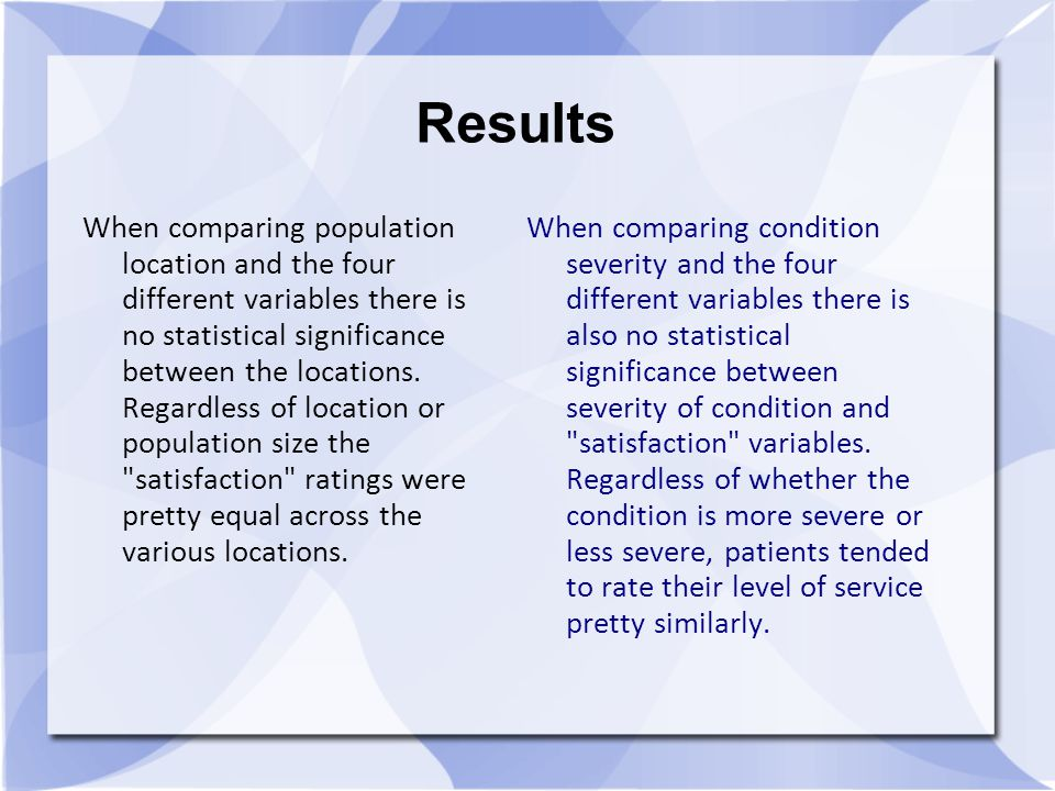 Results When comparing population location and the four different variables there is no statistical significance between the locations.