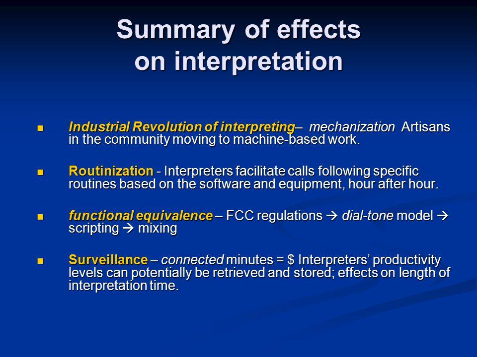 Summary of effects on interpretation Industrial Revolution of interpreting– mechanization Artisans in the community moving to machine-based work.