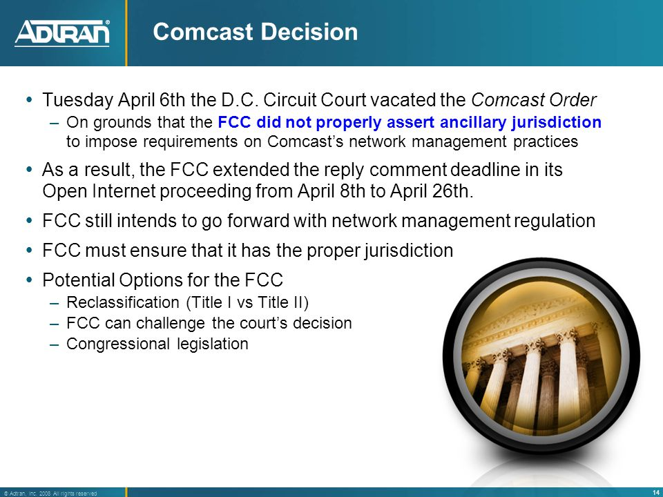 14 ® Adtran, Inc. 2008 All rights reserved Comcast Decision  Tuesday April 6th the D.C.