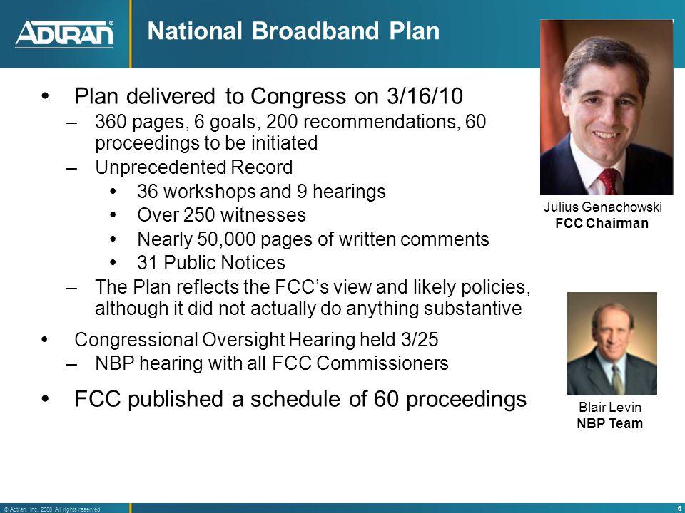 7 ® Adtran, Inc. 2008 All rights reserved 2010 Key FCC Broadband Action Agenda