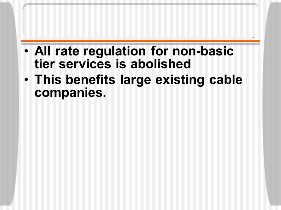 Cable still has public interest obligations  required local carriage of local broadcast signals  franchise obligations imposed by local authorities.