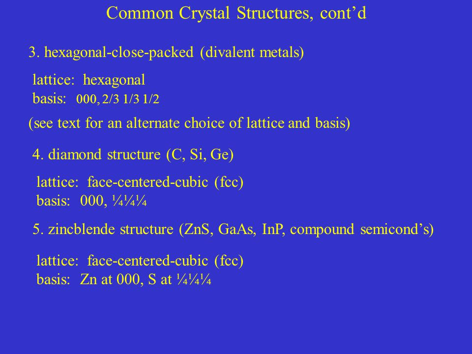 Common Crystal Structures, cont'd 3.hexagonal-close-packed (divalent metals) 4.