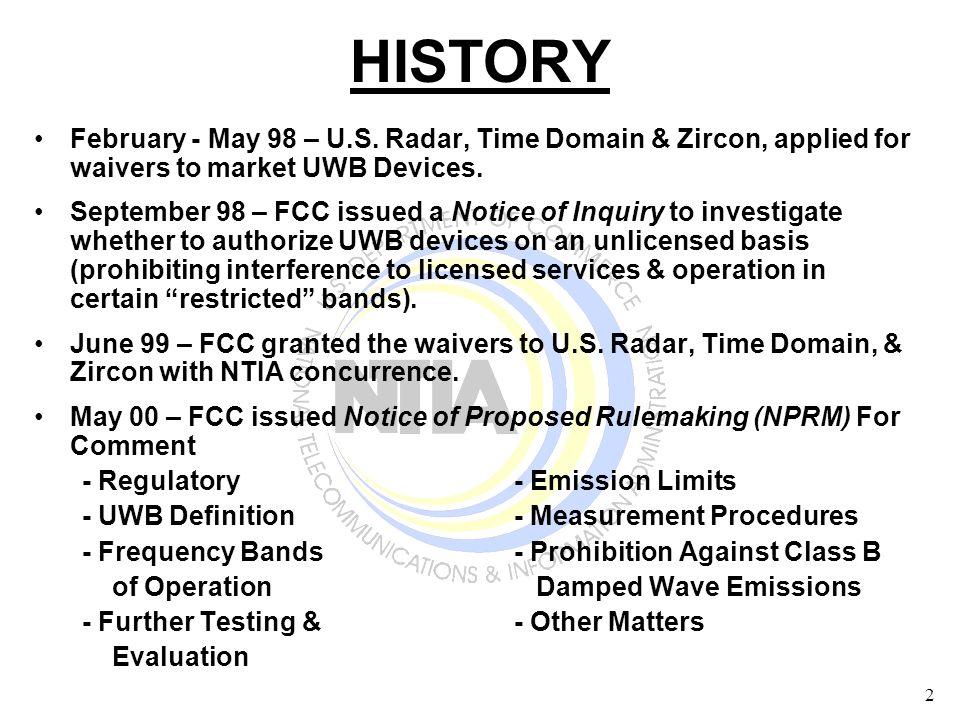 2 HISTORY February - May 98 – U.S.