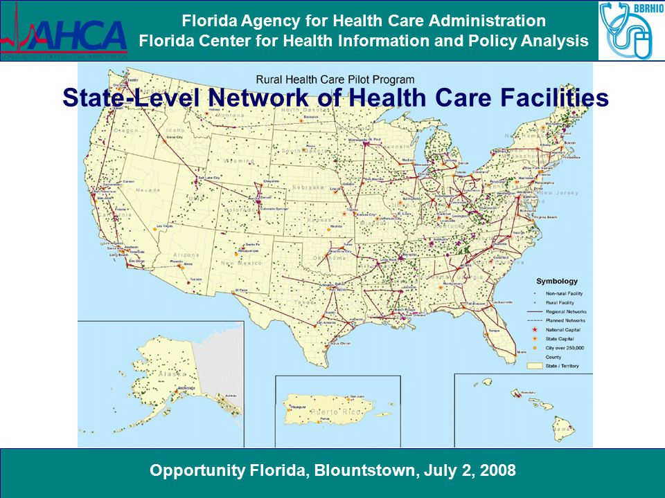 Opportunity Florida, Blountstown, July 2, 2008 Florida Agency for Health Care Administration Florida Center for Health Information and Policy Analysis State-Level Network of Health Care Facilities