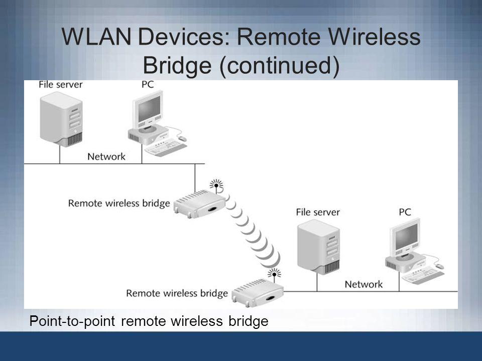 WLAN Devices: Remote Wireless Bridge (continued) Point-to-point remote wireless bridge