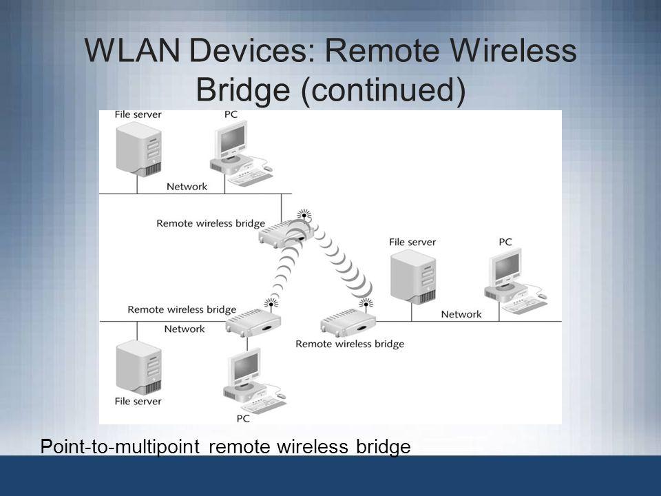 WLAN Devices: Remote Wireless Bridge (continued) Point-to-multipoint remote wireless bridge