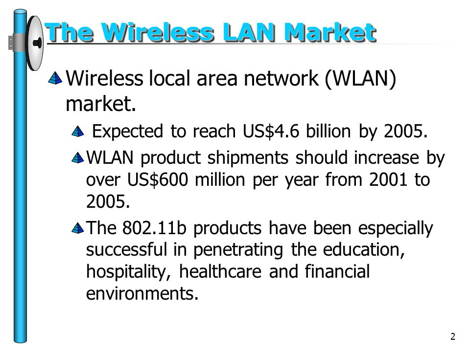 2 The Wireless LAN Market Wireless local area network (WLAN) market. Expected to reach US$4.6 billion by 2005. WLAN product shipments should increase