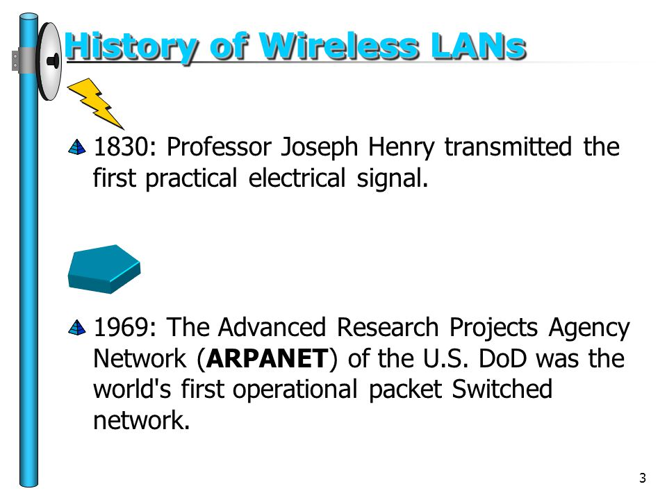 3 History of Wireless LANs 1830: Professor Joseph Henry transmitted the first practical electrical signal. 1969: The Advanced Research Projects Agency
